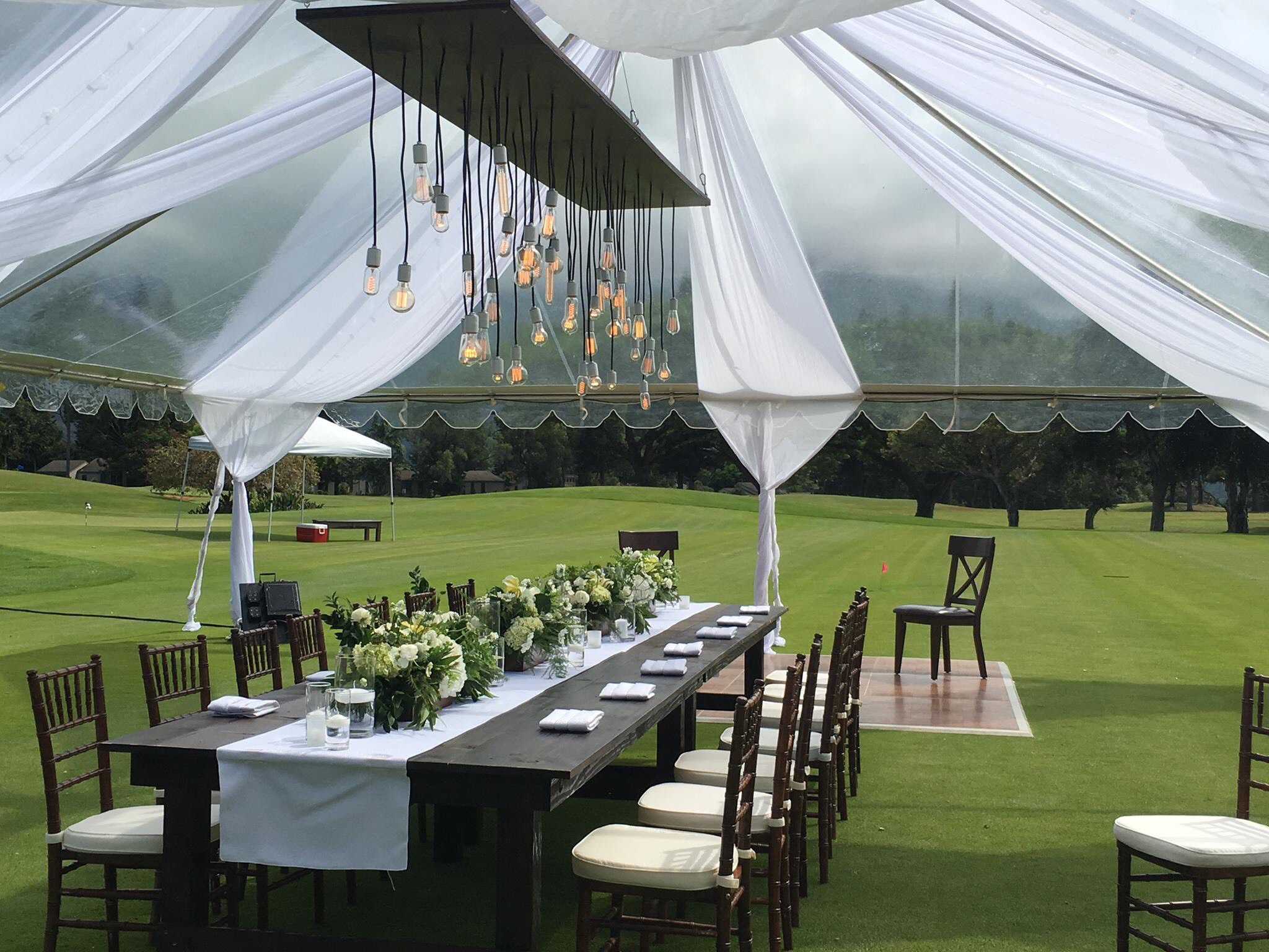 ET Services retro bulb fixtures with white sleeves u0026 draping create a rustic yet elegant ambience in a cleartop tent. & Decorating - ET Events Kauai